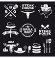 set barbecue steak house grill bar labels vector image