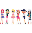 set cute fashion girls vector image
