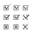 Set of nine different grey and white check marks vector image