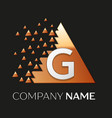 silver letter g logo symbol in the triangle shape vector image