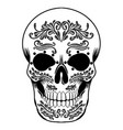 skull head a day dead black candy vector image