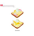 smorrebrod with boil egg the national dish of den vector image vector image