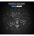Strategy Building concept with Doodle design style vector image vector image