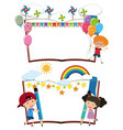 two blank books with happy kids vector image vector image