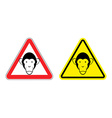Warning sign attention monkey Hazard yellow sign vector image