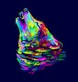 wolf howls abstract colorful neon portrait vector image vector image
