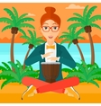 Woman playing tomtom vector image vector image