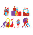 traveling people set in flat design vector image