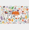 autumn card with pumpkin flowers leaves and vector image vector image