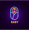 baby neon label vector image vector image