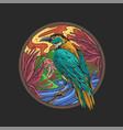 beautiful bird nature floral vector image vector image