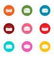 beefburger icons set flat style