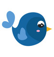 blue cute bird on white background vector image vector image