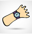 cartoon hand with wrist watch doodle funny vector image