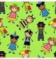 Cartoon seamless pattern with children in differen vector image vector image