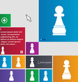 Chess Pawn icon sign buttons Modern interface vector image vector image