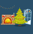christmas tree and fireplace vector image