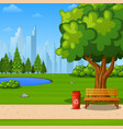 city park bench with green tree and scenery vector image vector image