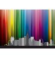 city with rainbow vector image