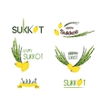 collection of labels for Sukkot Jewish vector image vector image