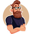 cool man wearing eyeglasses cartoon vector image