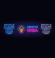 creative idea neon sign creative idea neon vector image