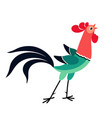 crowing cartoon rooster vector image vector image