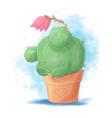 cute cartoon cactus girl sleeping in a pot vector image
