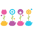 Cute spring flowers in flower pots vector image vector image