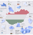Dot And Flag Map Of Hungary Infographic Design vector image vector image