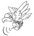 eagle scanner line drawing vector image vector image