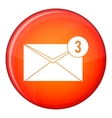 Envelope with three messages icon flat style vector image vector image