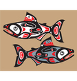 fish - salmon - native american style vector image vector image