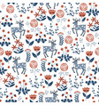 floral seamless pattern with deers vector image