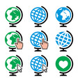 globe earth icons with cursor hand vector image vector image