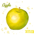 Green and yellow abstract watercolor apple vector image