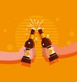 hands with bottles of beers toast vector image vector image