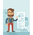 Happy man holding a paper vector image