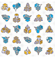 isometric abstract shapes set vector image vector image