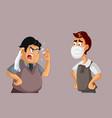 men arguing over medical face mask usage vector image vector image