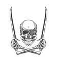 monochrome skull with mustache vector image vector image