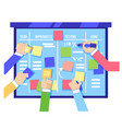 scrum board concept with human hands sticking vector image