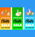 set of flyers happy easter sale banner template vector image vector image