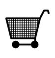 silhouette monochrome with shopping cart vector image vector image