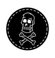 Skull And Cross Bone Circle Patch vector image vector image