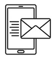 smartphone mail inbox icon outline style vector image vector image