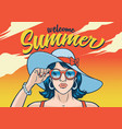 summr girl wearing sunglasses vector image vector image