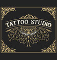 tattoo logo template old lettering on dark vector image vector image