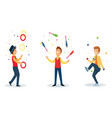 three cartoon jugglers performs a circus trick vector image vector image