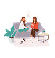 two young women spending time together girls cosy vector image vector image